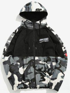 Camo Patchwork Embroidered Letter Jacket - Gray L