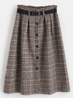 Buttoned Houndstooth A Line Skirt - Multi