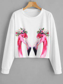 Floral Flamingo Sweatshirt - White M