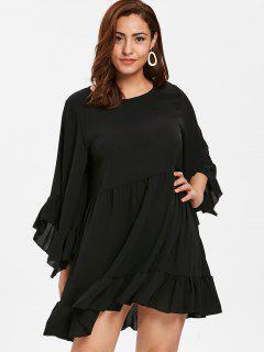 ZAFUL Plus Size Ruffled Flounce Dress - Black 3x
