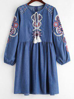 Embroidered Keyhole Chambray Dress - Blue