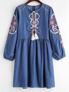 Robe En Chambray Brodée - Bleu