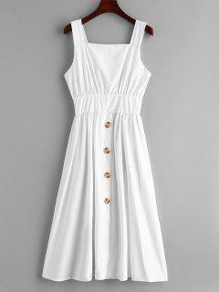 Shirred Waist Midi Dress - White S