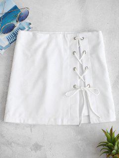 Lace Up Bodycon Mini Skirt - White