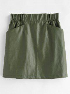 Faux Leather Pocket Skirt - Fern Green S