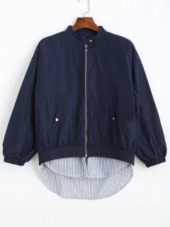 Zip Up Striped High Low Jacket - Cadetblue M