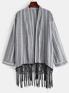 Blusa De Kimono Con Borlas A Rayas - Gris M