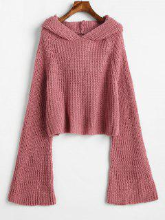 Hooded Bell Sleeve Loose Sweater - Pink