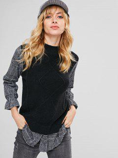 Crew Neck Plaid Sleeve Tunic Sweater - Black