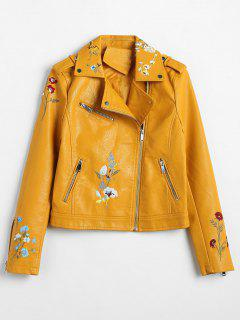 Floral Embroidered Faux Leather Biker Jacket - Yellow Xl