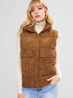 Padded Pocket Corduroy Waistcoat - Light Brown Xl