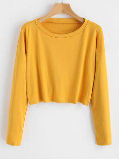 Cut Out Twist Cropped Top - Bee Yellow