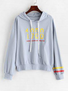 Drawstring Letter Embroidered Hoodie - Powder Blue
