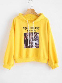 Drawstring Drop Shoulder Graphic Hoodie - Sun Yellow S