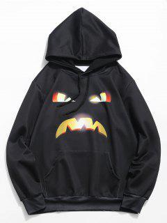 Halloween Pumpkin Emoticon Print Hoodie - Black L