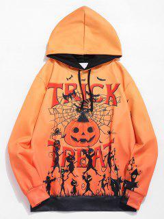 Halloween Letter Pumpkin Print Hoodie - Multi M