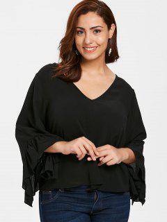 ZAFUL Plus Size Ruffled Bell Sleeve Blouse - Black L