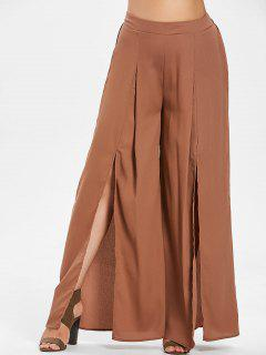 ZAFUL Plus Size Slit Wide Leg Pants - Wood 2x