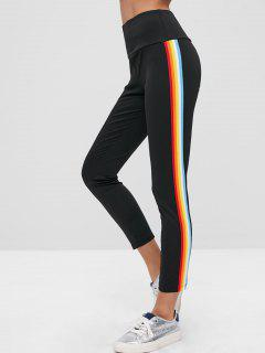 ZAFUL Rainbow Stripe Tights Leggings - Black L