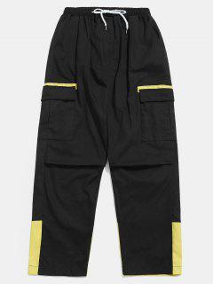Color Block Pockets Cargo Pants - Black S