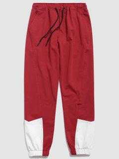 Contrast Color Drawstring Waist Pants - Lava Red L