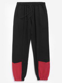 Contrast Color Drawstring Waist Pants - Black L