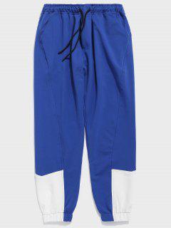 Contrast Color Drawstring Waist Pants - Blue L