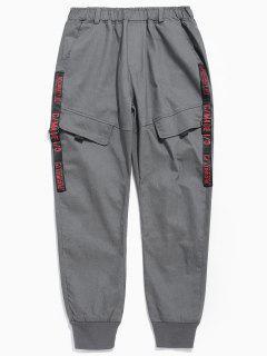 Pocket Design Letter Print Pants - Dark Gray L