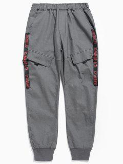 Pantalones Con Estampado De Letras En Diseño De Bolsillo - Gris Oscuro Xl