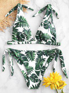 ZAFUL Palm Tie Schulter Bikini Set - Weiß L