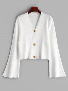 Button Up Flare Ärmel Strickjacke - Weiß