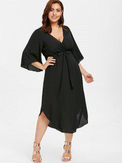 ZAFUL Plus Size Drawstring Surplice Dress - Black 4x
