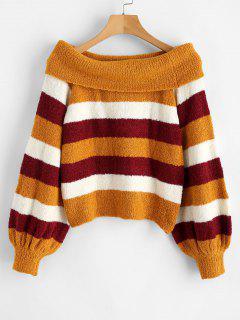 ZAFUL Fluffy Off The Shoulder Striped Sweater - Multi L