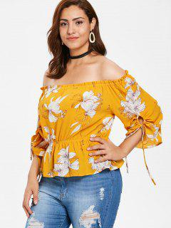 ZAFUL Plus Size Floral Skirted Blouse - Bee Yellow L