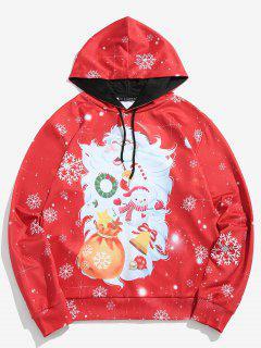 ZAFUL Santa Claus Print Pullover Hoodie - Lava Red Xl