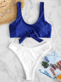 ZAFUL Keyhole Tied Color Block Bikini Set - Cobalt Blue M