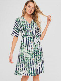 V Neck Printed Button Up Dress - Multi L