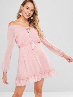Mini Vestido De Hombro Con Volantes - Rosa L