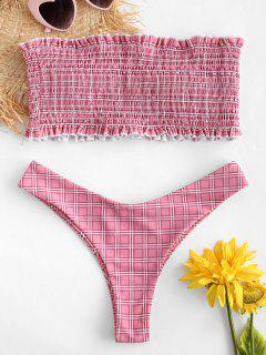 ZAFUL Checked Frilled Smocked Bikini Set - Pink Rose L