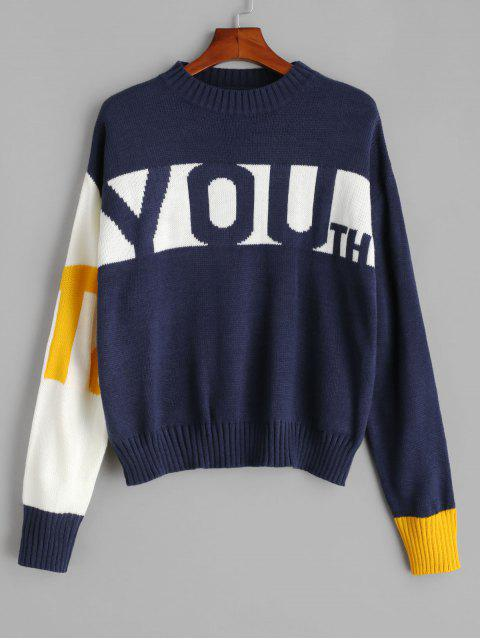 Buchstabenmuster Farbblock Sweater - Kadettenblau Eine Größe Mobile