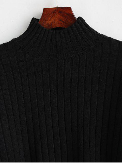 buy Dropped Shoulder Mock Neck Sweater - BLACK ONE SIZE Mobile