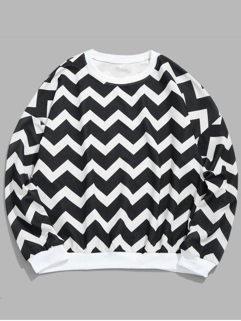 Sweat-shirt à motif géométrique Wave - Noir XL Mobile
