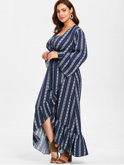 unique ZAFUL Plus Size Wrap Flounce Long Dress - MIDNIGHT BLUE 1X Mobile
