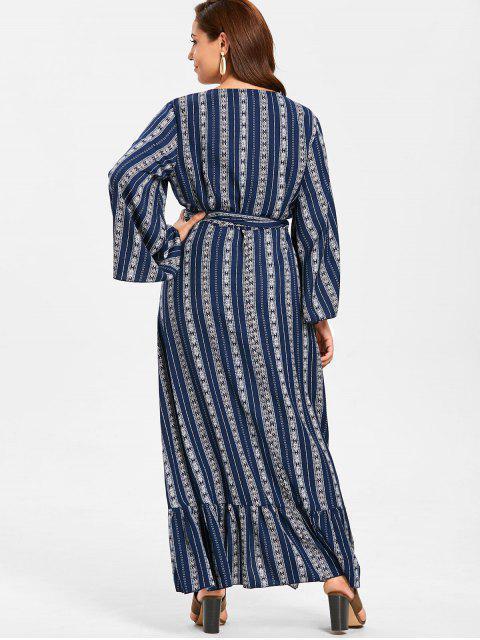lady ZAFUL Plus Size Wrap Flounce Long Dress - MIDNIGHT BLUE 3X Mobile