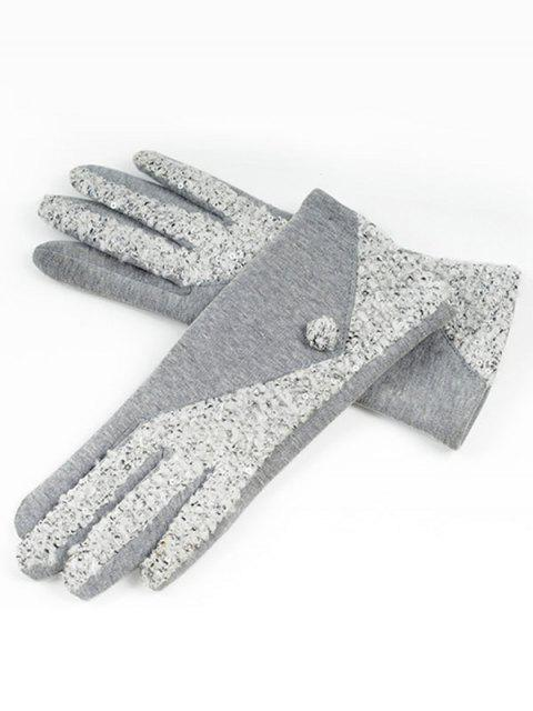 buy Winter Color Block Full Finger Gloves - GRAY CLOUD  Mobile