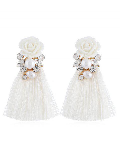 best Vintage Floral Rhinestone Tassel Drop Earrings - WHITE  Mobile