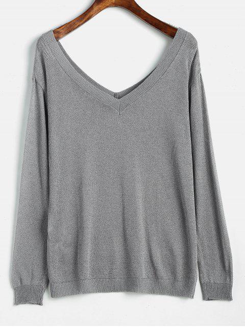Camiseta de punto sin espalda de corte bajo - Gris M Mobile