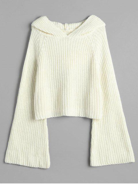 Suéter holgado con capucha y manga de campana - Blanco Cálido Única Talla Mobile