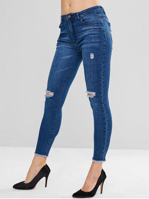 ZAFUL Frayed Hem Ripped Skinny Jeans - Azul Oscuro de Denim S Mobile