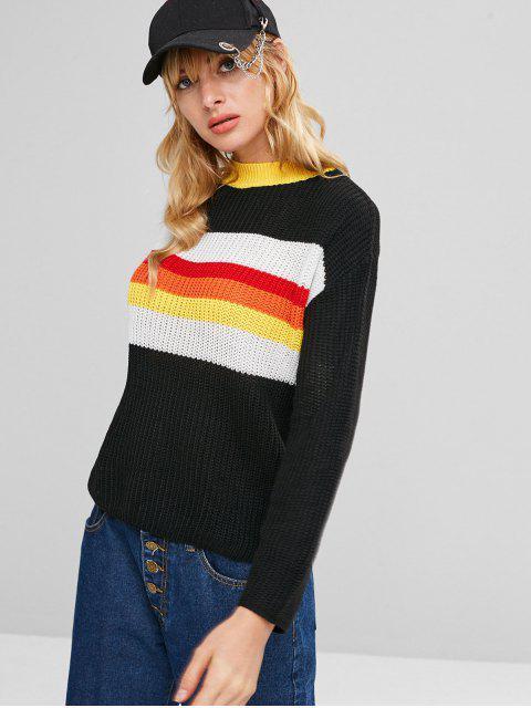 Kontrast Bunter Streifen Pullover - Schwarz Eine Größe Mobile
